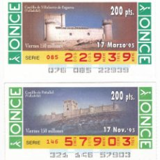 Cupones ONCE: 2 CUPONES ONCE. SERIE CASTILLOS. 1995. Lote 165830254