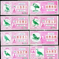 Cupones ONCE: CUPONES DE LA ONCE 1986 SERIE AVES COMPLETA 32 CUPONES, BUEN ESTADO. Lote 166445190