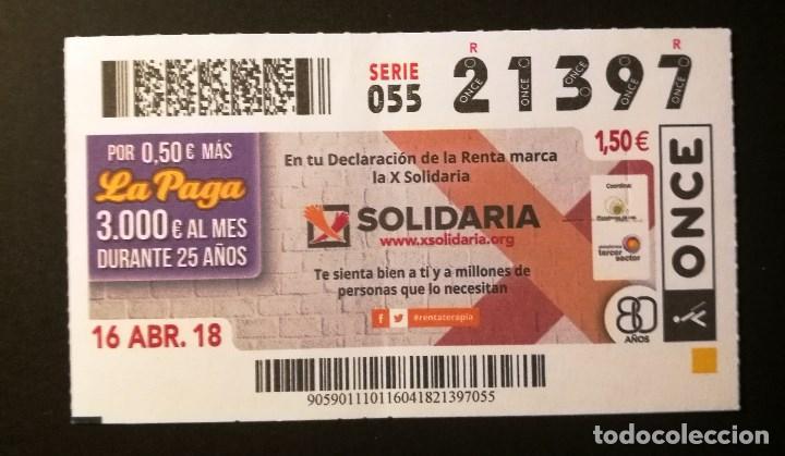 Nº 21397 (16/ABRIL/2018) (Coleccionismo - Lotería - Cupones ONCE)