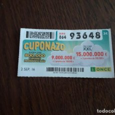 Cupones ONCE: CUPÓN ONCE 02-09-16 CUPONAZO.. Lote 168764980