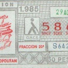Cupones ONCE: CUPON ONCE 29 AGOSTO 1985 AVIACION (CV-440 METROPOLITAN). Lote 169631672