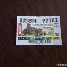 Cupones ONCE: CUPÓN ONCE 04-12-16 NUESTROS PUEBLOS MÁS BONITOS, PUERTOMINGALVO. TERUEL. Lote 170895100