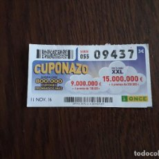 Cupones ONCE: CUPÓN ONCE 11-11-16 CUPONAZO.. Lote 171074039