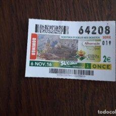 Cupones ONCE: CUPÓN ONCE 06-11-16 NUESTROS PUEBLOS MÁS BONITOS, ALBARRACÍN, TERUEL.. Lote 171114568