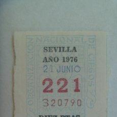 Cupones ONCE: CUPON DE LA ONCE DEL DIA 21 DE JUNIO DE 1976 , SEVILLA. Lote 207130832