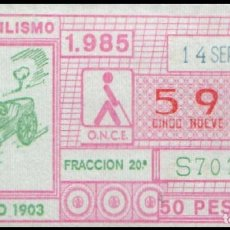 Cupones ONCE: CUPON ONCE 14 SEPTIEMBRE 1985 (AUTOMOVILISMO) DEPORTIVO 1903. Lote 176178652