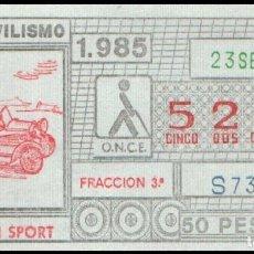 Cupones ONCE: CUPON ONCE 23 SEPTIEMBRE 1985 (AUTOMOVILISMO) MORGAN SPORT. Lote 176342347