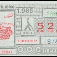 Cupones ONCE: CUPON ONCE 23 SEPTIEMBRE 1985 (AUTOMOVILISMO) MORGAN SPORT. Lote 176342488