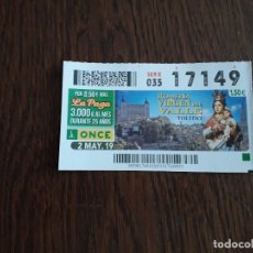 Billets ONCE: CUPÓN ONCE 02-05-19 ROMERÍA VIRGEN DEL VALLE, TOLEDO.. Lote 177001542