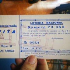 Cupones ONCE: LOTERIA NACIONAL DE SUPERMERCADO VITA LAS ARENAS VIZCAYA 1986. Lote 178448283