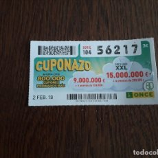 Cupones ONCE: CUPÓN ONCE 02-02-18 CUPONAZO.. Lote 179049272