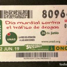 Cupones ONCE: Nº 80964 (22/JUNIO/2019). Lote 179145991