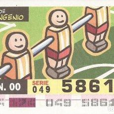 Cupones ONCE: CUPON ONCE - 58616 - SORTEO 22 JUNIO 2000 - SERIE 049 - UN SIGLO DE INGENIO. Lote 180222451