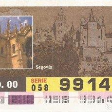 Cupones ONCE: CUPON ONCE - 99141 - SORTEO 09 AGOSTO 2000 - SERIE 058 - PATRIMONIO DE LA HUMANIDAD. Lote 180225427
