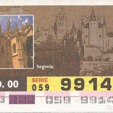Cupones ONCE: CUPON ONCE - 99141 - SORTEO 09 AGOSTO 2000 - SERIE 059 - PATRIMONIO DE LA HUMANIDAD. Lote 180225435