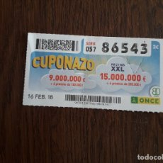Cupones ONCE: CUPÓN ONCE 16-02-18 CUPONAZO.. Lote 180276692