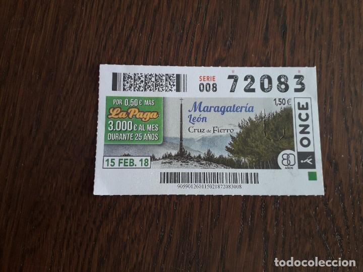 CUPÓN ONCE 15-02-18 MARAGATERÍA LEÓN, CRUZ DE FIERRO (Coleccionismo - Lotería - Cupones ONCE)