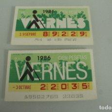 Cupones ONCE: 50 CUPONES DISTINTOS DEL VIERNES DE LA ONDE AÑOS 80 Y 90. Lote 182052993