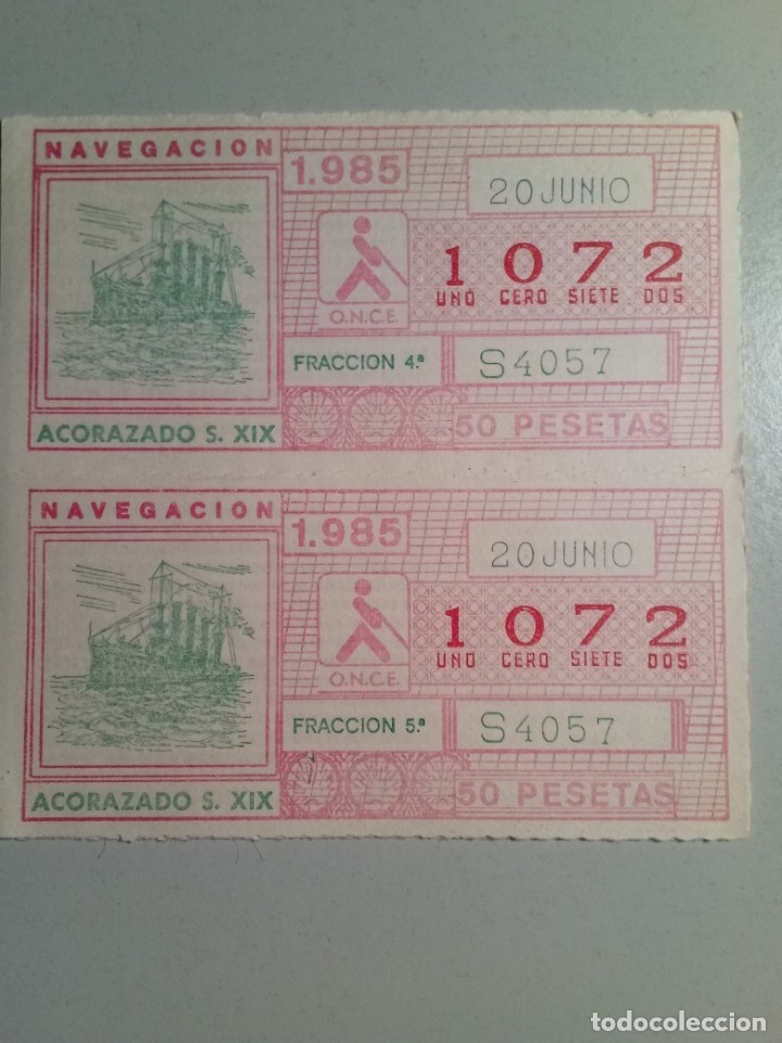 4 CUPONES ONCE 20 DE JUNIO 1985 NÚM 1072 (Coleccionismo - Lotería - Cupones ONCE)