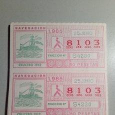 Cupones ONCE: 18 CUPONES ONCE 25 DE JUNIO 1985 NÚM 8103. Lote 182333670