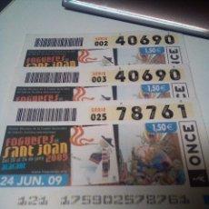 Cupones ONCE: FIESTAS FOGUERES SANT JOAN 2009 ALACANT HOGUERAS. Lote 295385478
