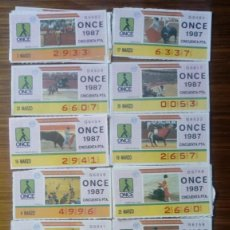Cupones ONCE: 56 CUPONES ONCE TAUROMAQUIA 1987 14 DIFERENTES. Lote 183474562