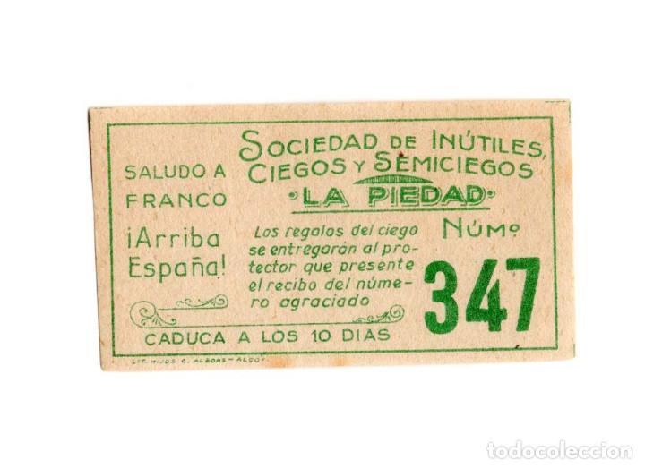 ANTIGUO BILLETE DE SOCIEDAD DE INÚTILES, CIEGOS Y SEMISIEGOS. (Coleccionismo - Lotería - Cupones ONCE)