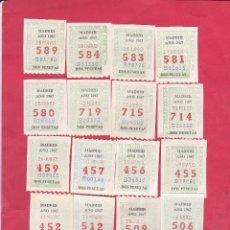 Cupones ONCE: 20 CUPONES ANTIGUOS DE LA ONCE AÑO 1967. Lote 183590602