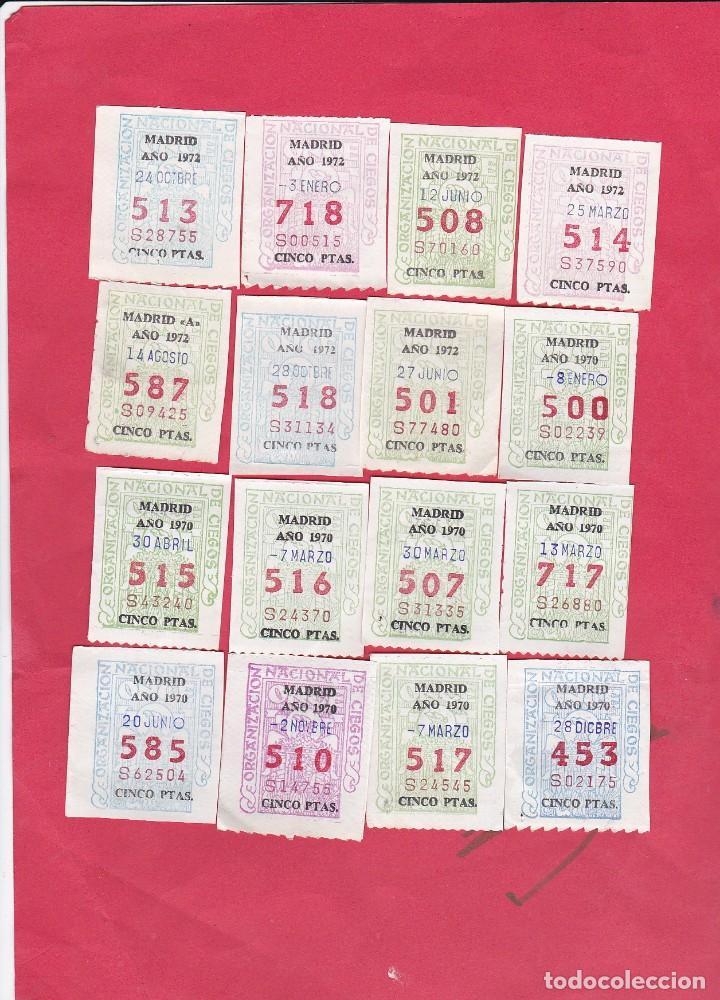 16 CUPONES ANTIGUOS DE LA ONCE AÑO AÑO 1970 Y 1972 (Coleccionismo - Lotería - Cupones ONCE)