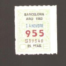Cupones ONCE: 1 CUPON DE LA ONCE 1983 14 NOVIEMBRE BARCELONA. Lote 183653836