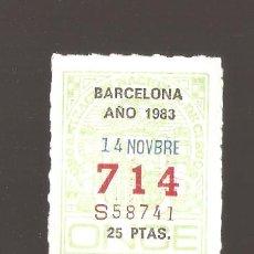 Cupones ONCE: 3 CUPONS DE LA ONCE 1983 14 NOVIEMBRE BARCELONA. Lote 183654546