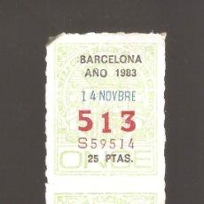 Cupones ONCE: 2 CUPONS DE LA ONCE 1983 14 NOVIEMBRE BARCELONA. Lote 183655013