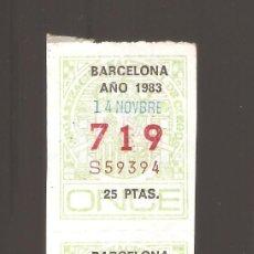 Cupones ONCE: 2 CUPONS DE LA ONCE 1983 14 NOVIEMBRE BARCELONA. Lote 183655096