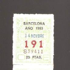 Cupones ONCE: 3 CUPONS DE LA ONCE 1983 14 NOVIEMBRE BARCELONA. Lote 183655278