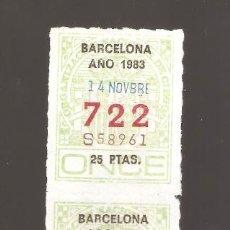 Cupones ONCE: 4 CUPONS DE LA ONCE 1983 14 NOVIEMBRE BARCELONA. Lote 183655525