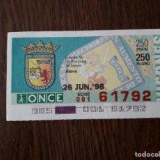 Cupones ONCE: CUPÓN DE LA ONCE, SERIE ESCUDOS DE LAS PROVINCIAS DE ESPAÑA, ALAVA, 26-06-98. Lote 186354241