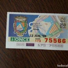 Cupones ONCE: CUPÓN DE LA ONCE, SERIE ESCUDOS DE LAS PROVINCIAS DE ESPAÑA, MÁLAGA, 12-06-98. Lote 186354565