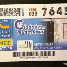 Cupones ONCE: Nº 76459 (23/OCTUBRE/2019). Lote 187587736