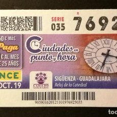Cupones ONCE: Nº 76925 (21/OCTUBRE/2019). Lote 187587903
