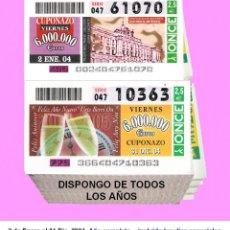 Cupones ONCE: 2004 - AÑO COMPLETO / INCLUIDO LOS SORTEOS ESPECIALES / CUPONES DE LA ONCE / CALIDAD MUY BUENA. Lote 187591750