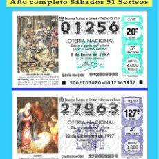 Cupones ONCE: OCASIÓN- 1997 LOTERÍA NACIONAL.- AÑO COMPLETO SÁBADOS / CALIDAD MUY BUENA, DISPONGO DE OTROS AÑOS. Lote 189080215