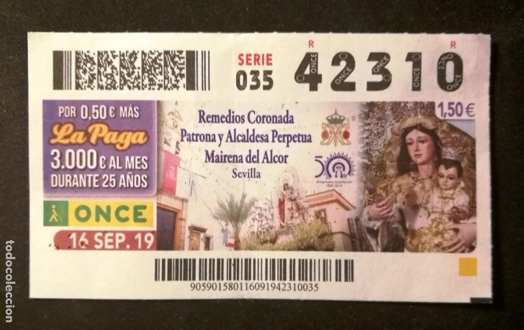 Nº 42310 (16/SEPTIEMBRE/2019) (Coleccionismo - Lotería - Cupones ONCE)