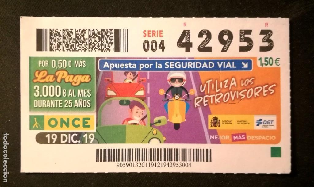 Nº 42953 (19/DICIEMBRE/2019) (Coleccionismo - Lotería - Cupones ONCE)