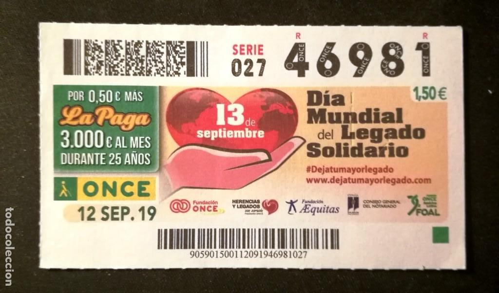Nº 46981 (12/SEPTIEMBRE/2019) (Coleccionismo - Lotería - Cupones ONCE)