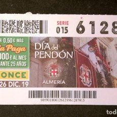 Cupones ONCE: Nº 61287 (26/DICIEMBRE/2019). Lote 191275235