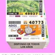 Cupones ONCE: 2001 - CUPONES DE LA ONCE / AÑO COMPLETO INCLUIDO LOS SORTEOS ESPECIALES / CALIDAD MUY BUENA. Lote 191691008