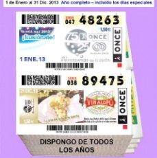 Cupones ONCE: 2013 - CUPONES DE LA ONCE / AÑO COMPLETO INCLUIDO LOS SORTEOS ESPECIALES / CALIDAD MUY BUENA. Lote 191692116
