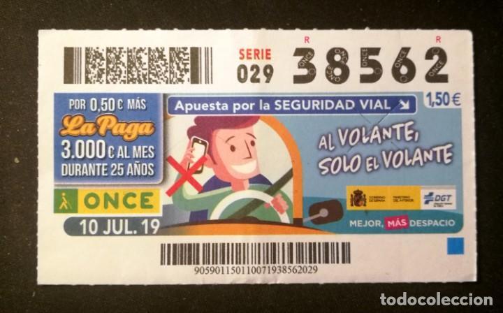Nº 38562 (10/JULIO/2019) (Coleccionismo - Lotería - Cupones ONCE)