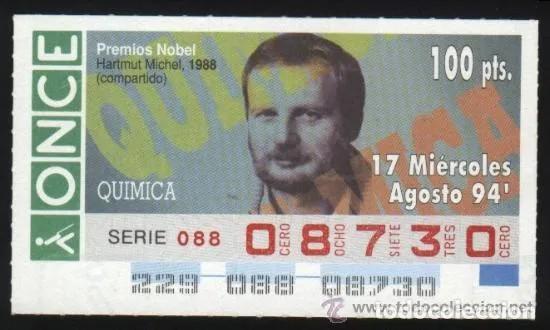 A-8764- CUPÓN ONCE. 17 AGOSTO 1994. NOBEL QUÍMICA. .HARMUT MITCHEL. (Coleccionismo - Lotería - Cupones ONCE)