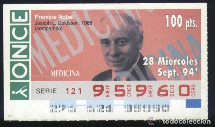 A-8768- CUPÓN ONCE. 18 SEPTIEMBRE 1994. NOBEL MEDICINA. JOSEPH L. GOLDSTEIN. (Coleccionismo - Lotería - Cupones ONCE)